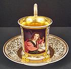 Antique KPM Portrait Cup & Saucer