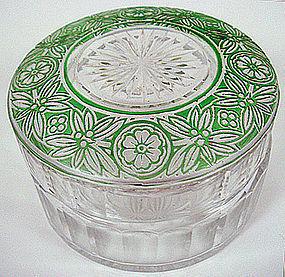 Pair of Deco Art Glass Dresser Jars