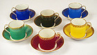 Six Antique KPM Multi-Colored Demitasse Cups & Saucers