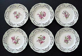 Set of 6 Antique KPM Floral Cabinet Plates