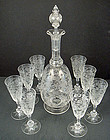 Antique Baccarat Etched Crystal Decanter & Glasses
