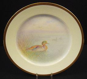 Fabulous Antique Lenox Cabinet Plate, �Teal Duck�