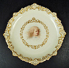 Antique Cauldon Portrait Plate, Signed Boullemiere