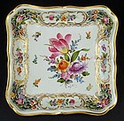 Antique Dresden Reticulated Square Dish