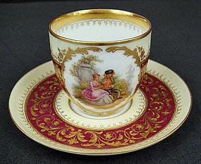 Antique Scenic Dresden Demitasse Cup & Saucer