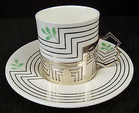 Exceptional Deco Wedgwood Demitasse Cup & Saucer