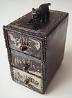 Victorian Silver Plated Sewing Box with Kitten