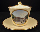 Antique Continental Topographical Tea Cup & Saucer