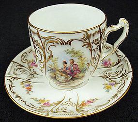 Antique Saxonia Dresden Demitasse Cup & Saucer