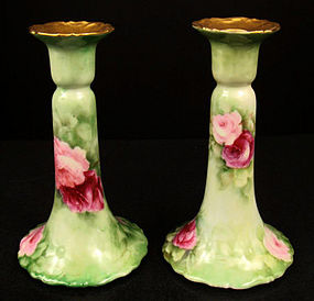 Pair of Antique T&V Limoges Candlesticks