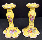 Colorful Antique Pair Wolfsohn Dresden Candle Holders