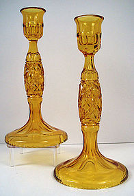 Pair of Antique European Cut Crystal Candlesticks