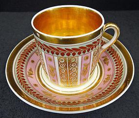 Fine Antique Paris Porcelain Tea Cup & Saucer