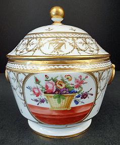 Lovely Antique Paris Porcelain Sucrier or Sugar Bowl