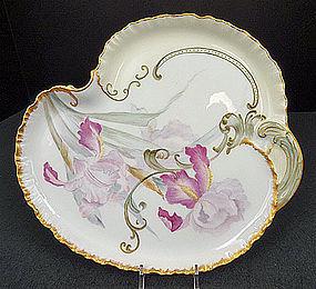 Beautiful Antique Haviland Limoges Dresser Tray, Iris