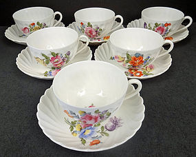 Set of 6 Delicate Nymphenburg Tea Cups & Saucers