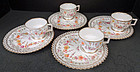 Set of 4 Antique Lamm Dresden Tea Cups & Biscuit Trays
