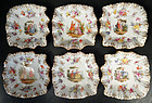 6 Antique Hirsch Dresden Scenic Dessert Dishes