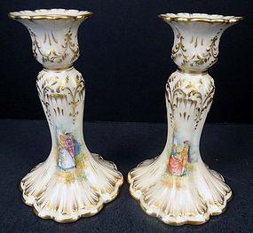 Elegant Antique Pair of Lamm Dresden Candle Holders