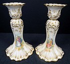 Elegant Antique Pair of Lamm Dresden Candle Holders