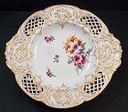 Antique Nouveau Porcelain KPM Berlin Reticulated Dish