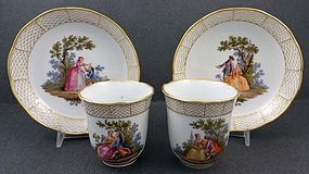 Rare Antique Meissen Scenic Coffee Cup & Saucer