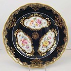 Gorgeous Antique Meissen Cobalt & Floral Plate