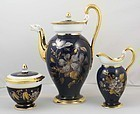 Antique Meissen 3 Piece Cobalt Blue Coffee Set