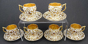Antique Set of 6 Sevres Style Demitasse Cups & Saucers