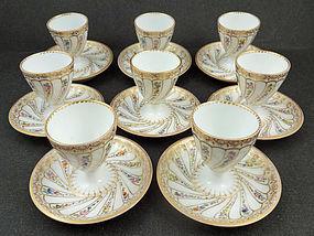 8 Lovely Antique Wolfsohn Dresden Egg Cups