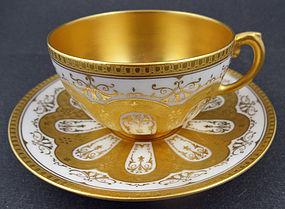 Elegant Antique Coalport Gilded Tea Cup & Saucer