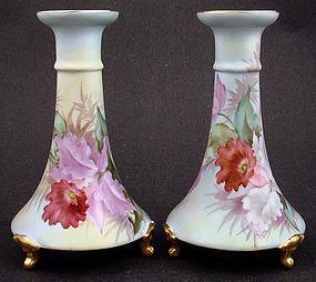 Antique Pair of Pirkenhammer Orchid Candlesticks