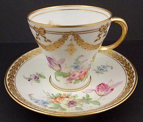 Charming Antique Donath Dresden Tea Cup & Saucer