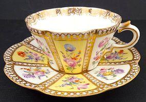 Delightful Antique Hirsch Dresden Tea Cup & Saucer