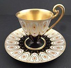 Art Deco Royal Worcester Jeweled Demitasse Cup & Saucer