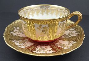 Superb Antique Coronet Limoges Tea Cup & Saucer