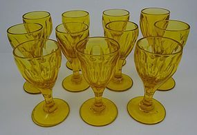 11 Antique Flint Cut Cordial Glasses, Amber Panels