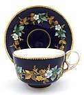 Royal Crown Derby Cobalt Enameled Tea Cup & Saucer