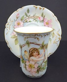 Darling Antique Limoges Fairy Cup & Saucer
