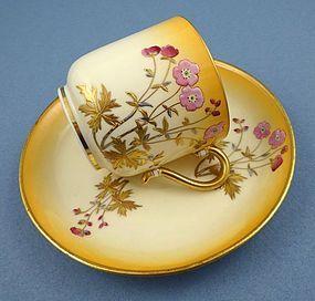 Antique Mintons Hand Enameled Demitasse Cup & Saucer