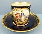 Antique Dresden Cobalt Scenic Demitasse Cup & Saucer
