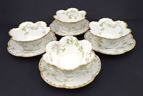 4 Antique Haviland & Co. Limoges Scalloped Ramekins with Under Plates