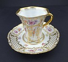 Dainty Antique Dresden Chocolate Cup & Saucer