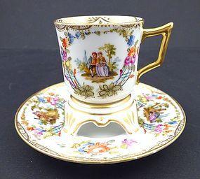 Rare Antique Dresden Trembleuse Demitasse Cup & Saucer