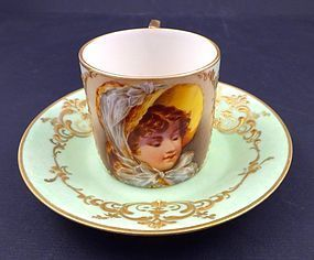Antique Art Nouveau Wahliss Vienna Portrait Demitasse Cup & Saucer