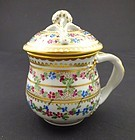 Antique Dresden Pot de Creme Cup with Lid