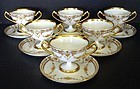 13 Elegant Antique Dresden Sherbet Cups & Saucers