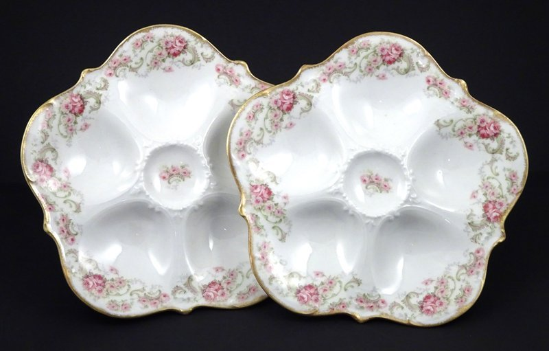 Pair of Antique Elite Limoges Oyster Plates with Roses