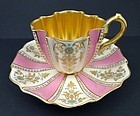 Antique Coalport Jeweled Tea Cup & Saucer