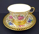 Antique Cauldon Hand Painted Tea Cup & Saucer